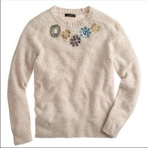 J. Crew Jeweled Donegal Lambswool Blend Sweater